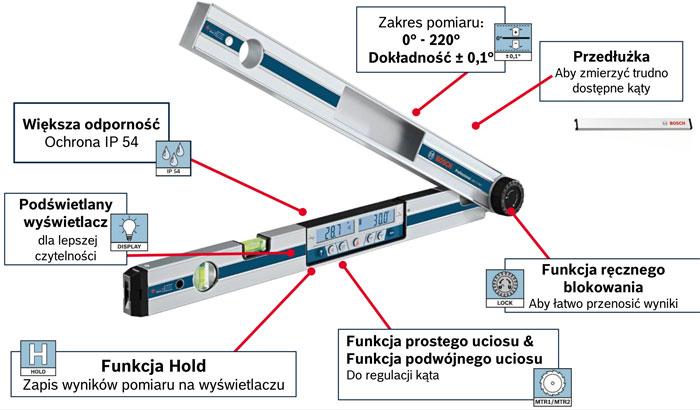 Kątomierz poziomnica elektroniczna Bosch GAM 270 MF z laserem